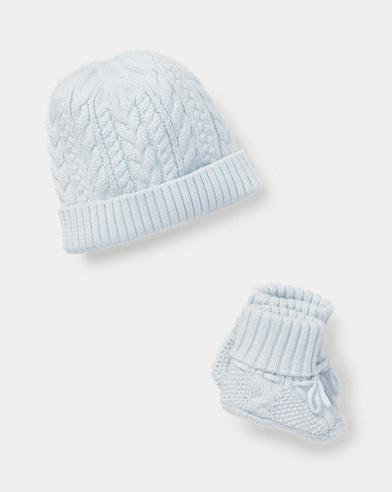 Cotton Hat & Booties Set