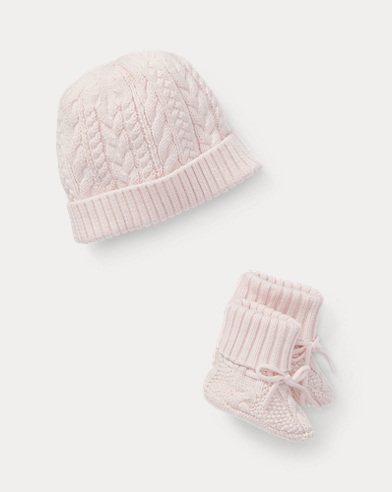 Cotton Hat & Booties Set