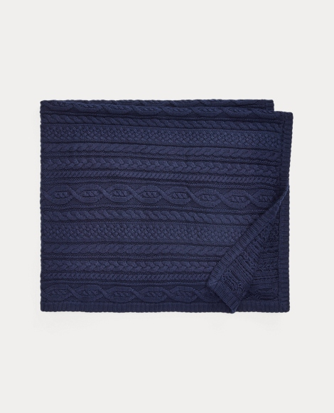 Aran-Knit Cotton Blanket