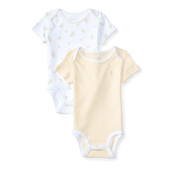 Ralph Lauren Cotton Bodysuit 2 - Piece Set White Multi W /  Yellow Newborn