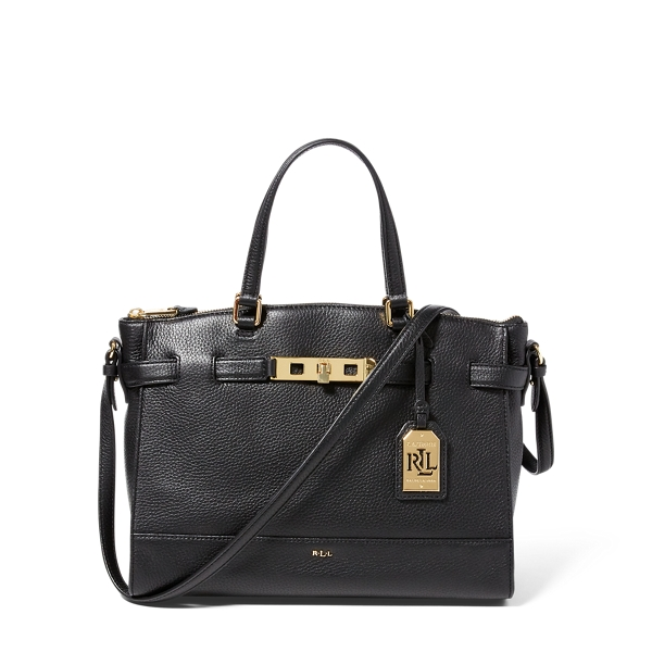 Ralph Lauren Leather Darwin Satchel Black One Size
