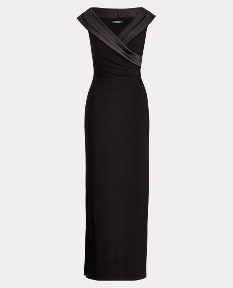 Satin-Trim Ruched Jersey Gown