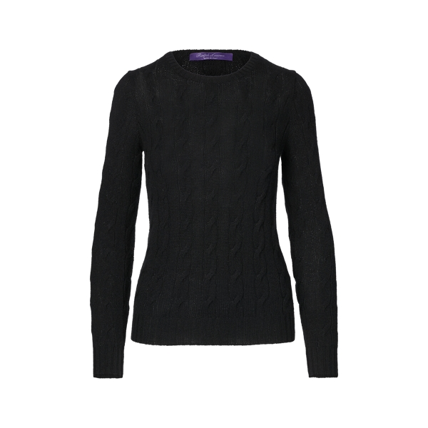 Ralph Lauren Cable-Knit Cashmere Sweater Lux Black S