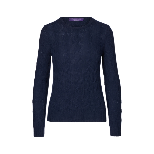 Ralph Lauren Cable-Knit Cashmere Sweater Lux Navy S