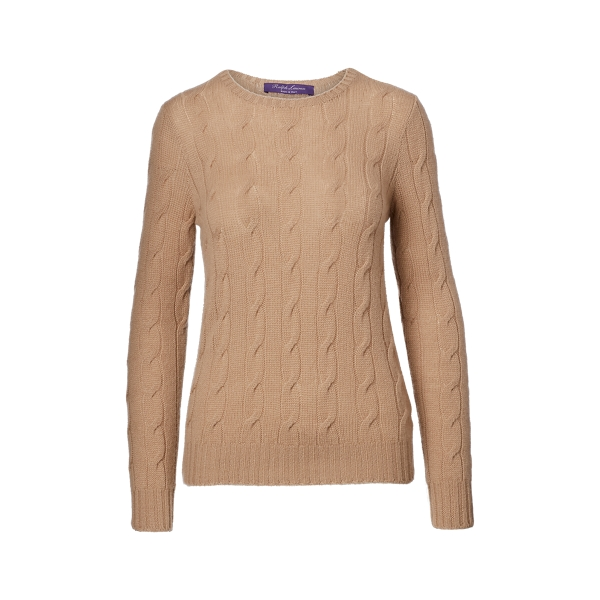 Ralph Lauren Cable-Knit Cashmere Sweater Lux Camel M