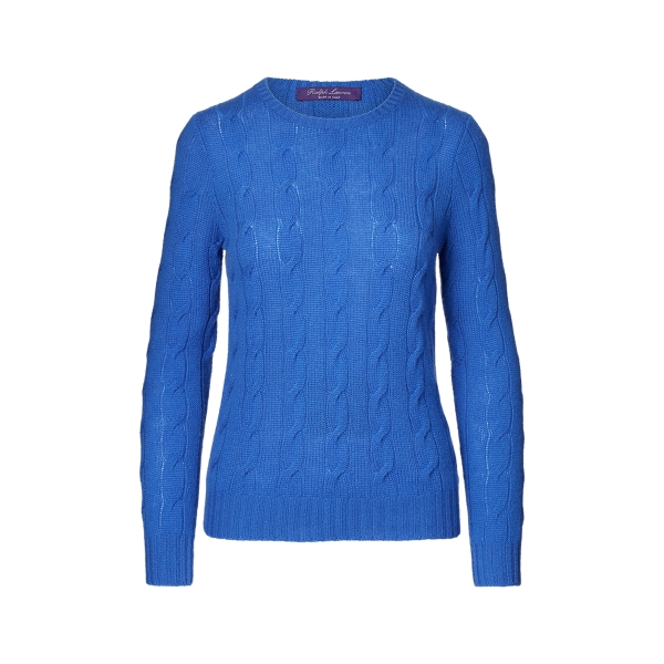 Ralph Lauren Cable-Knit Cashmere Sweater Lux Royal M