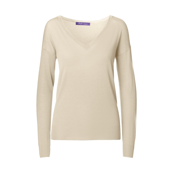 Ralph Lauren Merino Wool V-Neck Sweater Light Tan L