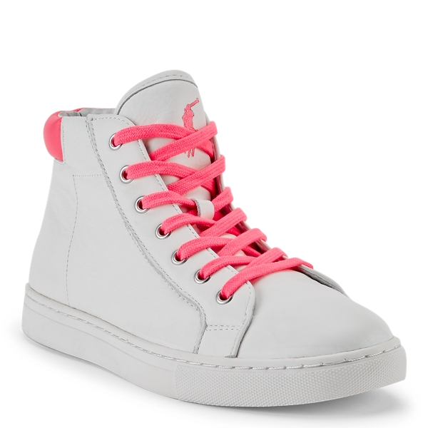 Ralph Lauren Pink Pony Leather Sneaker White 10