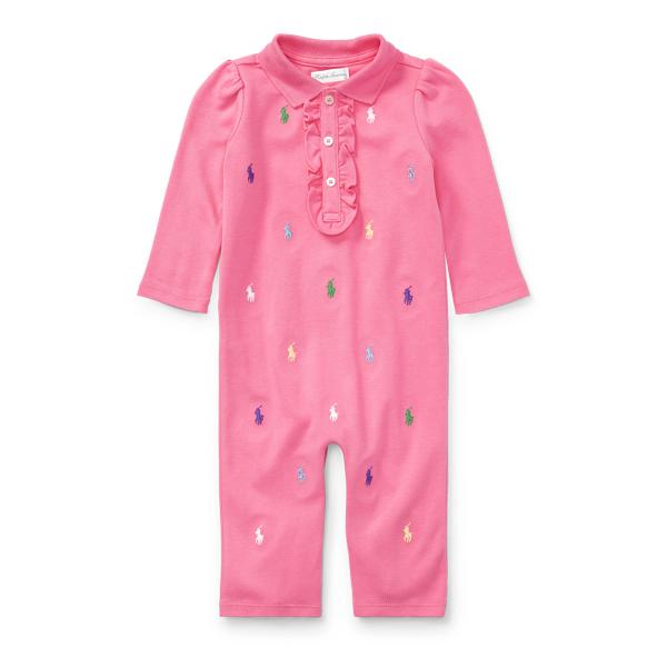 Ralph Lauren Allover Pony Cotton Coverall Light Pink Newborn