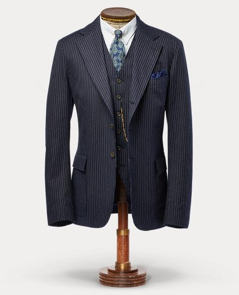 Pinstripe Cotton Suit Jacket
