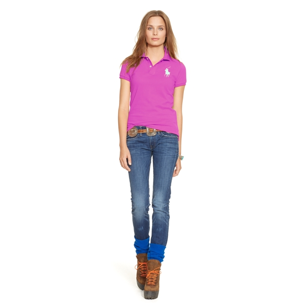 Ralph Lauren Skinny-Fit Big Pony Polo Shirt Maui Pink Xs