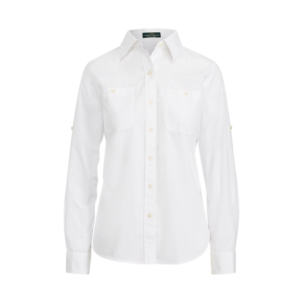 Ralph Lauren Rolled-Cuff Cotton Shirt White Xs
