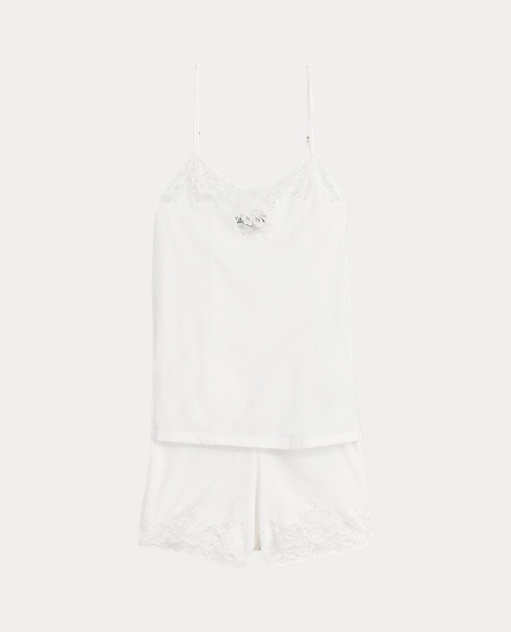 Lace-Trimmed Pajama Short Set