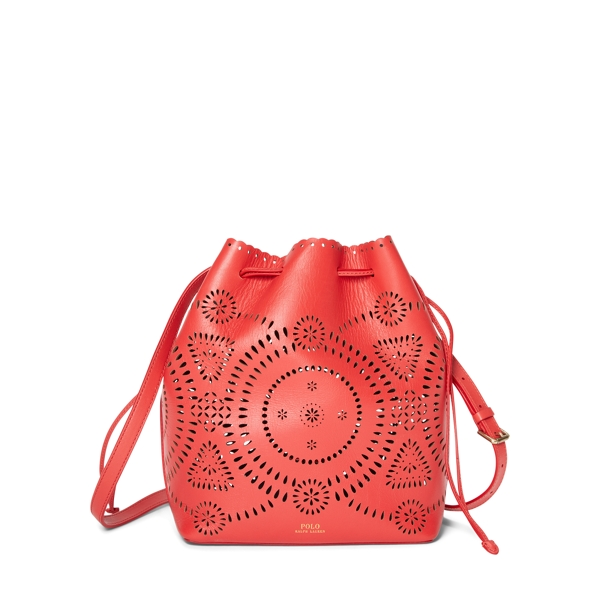 Ralph Lauren Laser-Cut Leather Bucket Bag Coral One Size