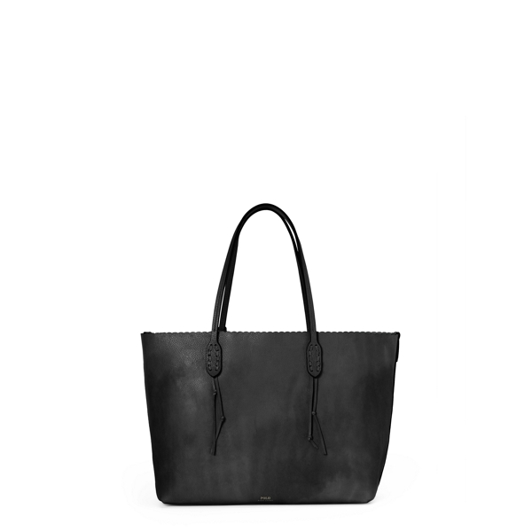 Ralph Lauren Scalloped-Edge Leather Tote Black One Size
