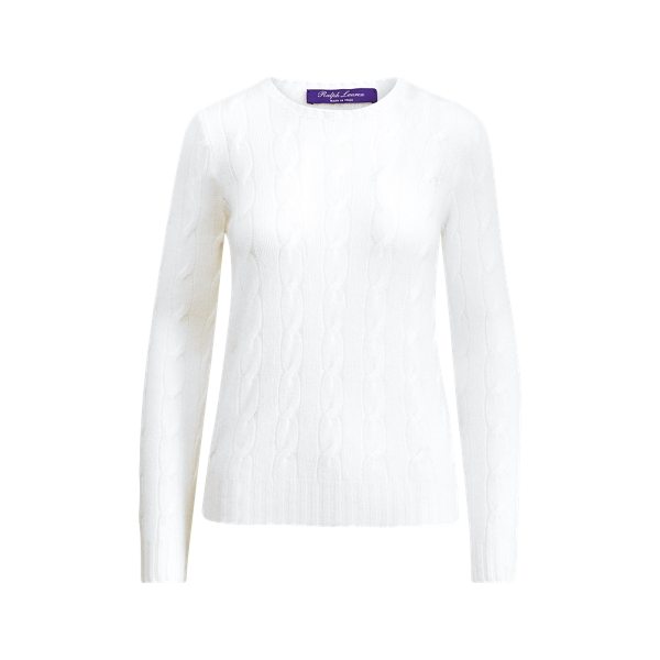 Ralph Lauren Cable-Knit Cashmere Sweater Lux White L