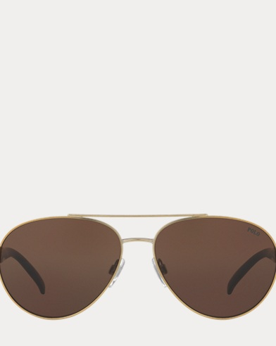 Stripe Polo Aviator Sunglasses