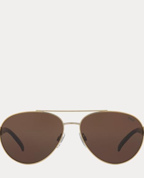 Stripe Polo Aviator Sunglasses
