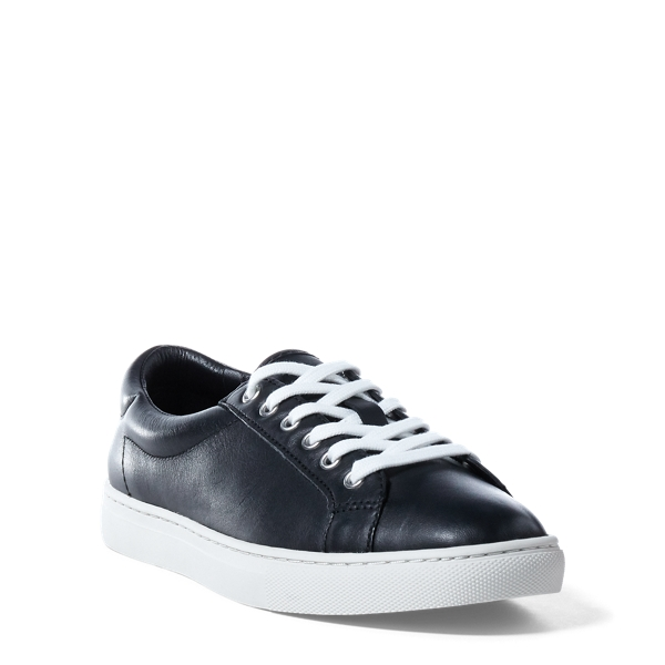 Ralph Lauren Drew Nappa Leather Sneaker Black 10