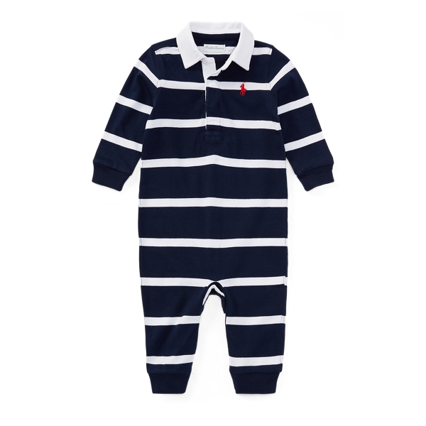 Ralph Lauren Striped Cotton Rugby Coverall French Navy Multi Newborn