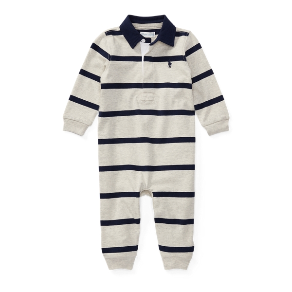 Ralph Lauren Striped Cotton Rugby Coverall Light Heather Multi Newborn