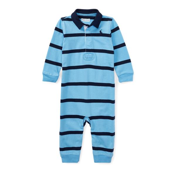 Ralph Lauren Striped Cotton Rugby Coverall Suffield Blue Multi Newborn