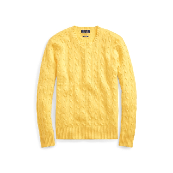 Ralph Lauren Cable-Knit Cashmere Sweater Fall Yellow Xs