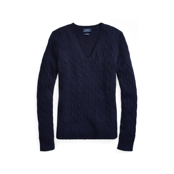 Ralph Lauren Cable Cashmere V-Neck Sweater Hunter Navy S