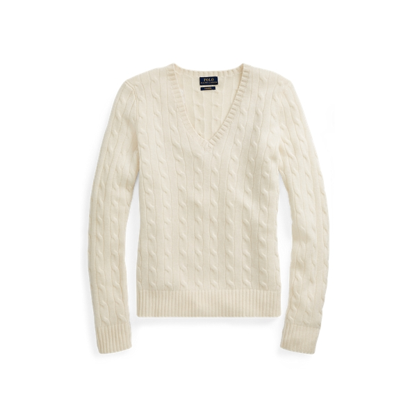 Ralph Lauren Cable Cashmere V-Neck Sweater Heritage Cream Xs
