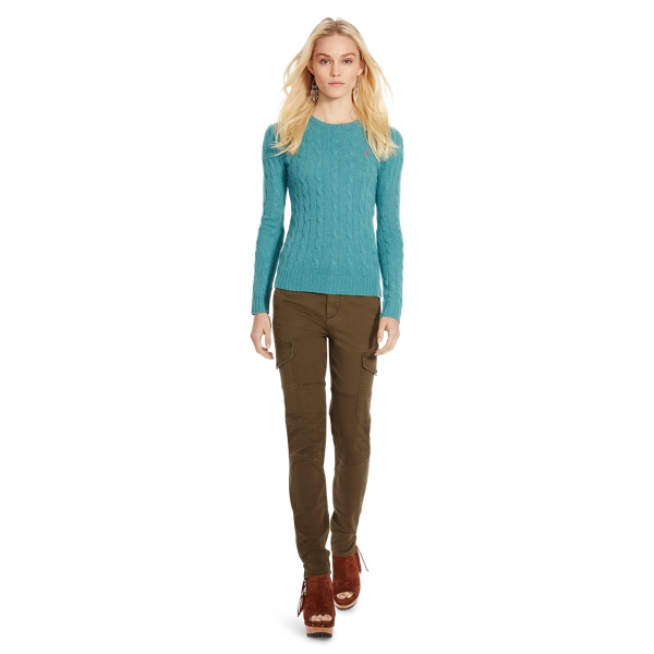 Ralph Lauren Cable Wool Crewneck Sweater Aqua Melange Xs