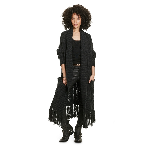 Ralph Lauren Fringed Open-Front Cardigan Charcoal Xs