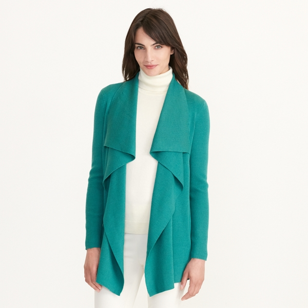Ralph Lauren Ribbed Wool Cardigan Jade M