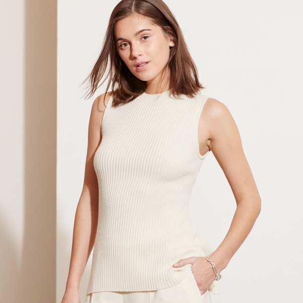 Ralph Lauren Merino Wool Sleeveless Sweater Ivory M