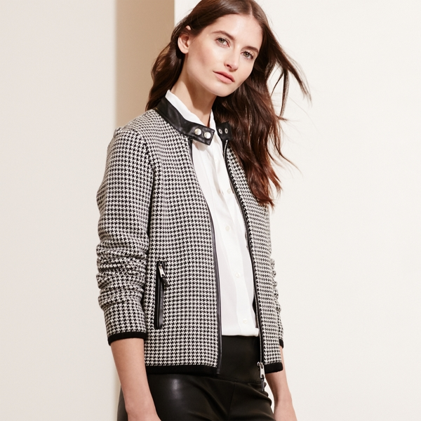 Ralph Lauren Houndstooth Moto Jacket Black/Cream M