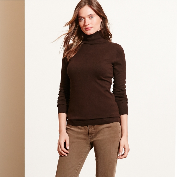 Ralph Lauren Silk-Cotton Turtleneck Brown Heather Lp