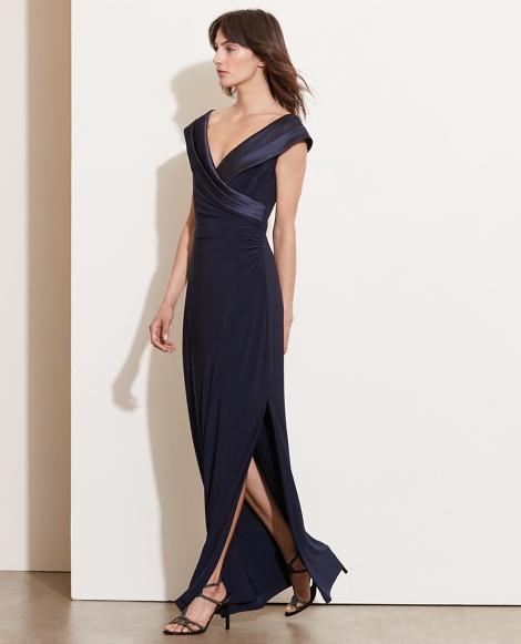 Satin-Neckline Jersey Gown