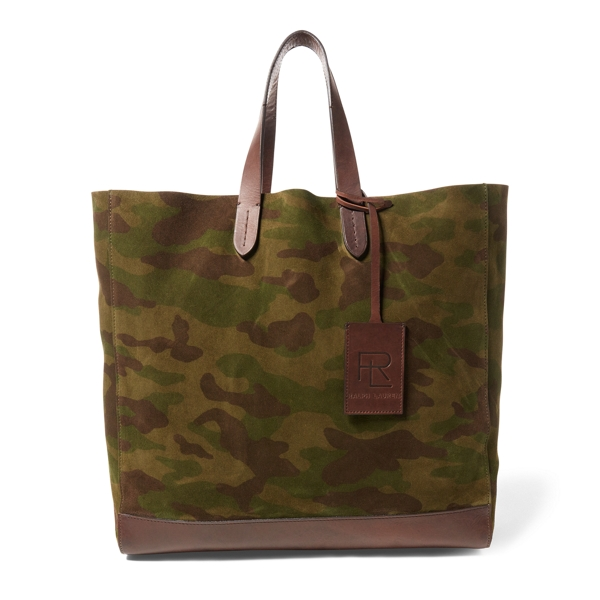 Ralph Lauren Camo Suede Easy Tote Camouflage One Size