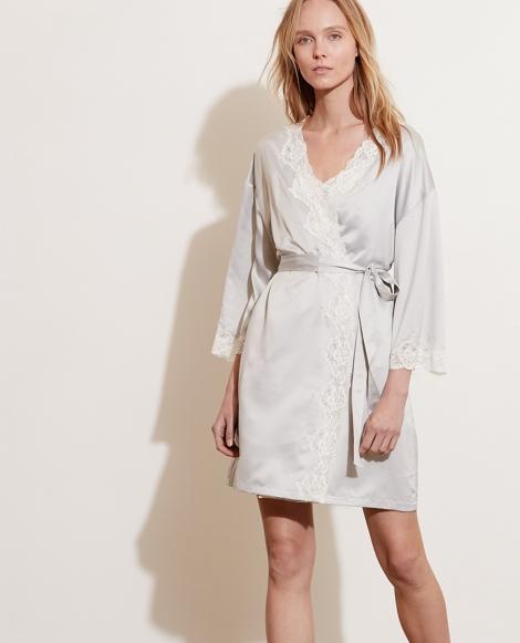 Lace-Trim Satin Robe