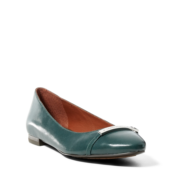 Ralph Lauren Farrel Leather Flat Green Gables 5.5