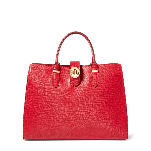 Ralph Lauren Leather Charleston Tote Crimson One Size