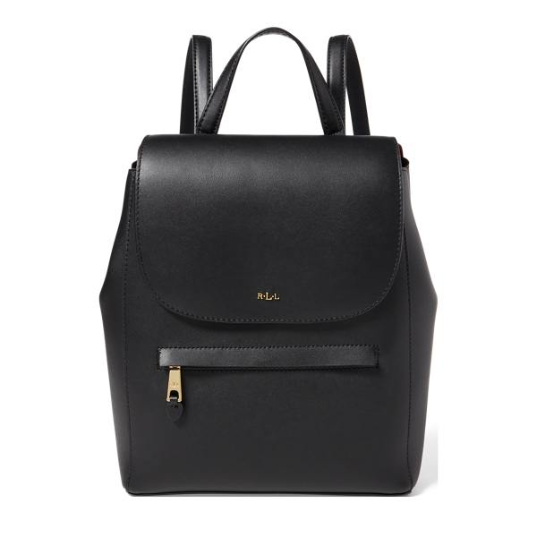 Ralph Lauren Leather Ellen Backpack Black/Crimson One Size