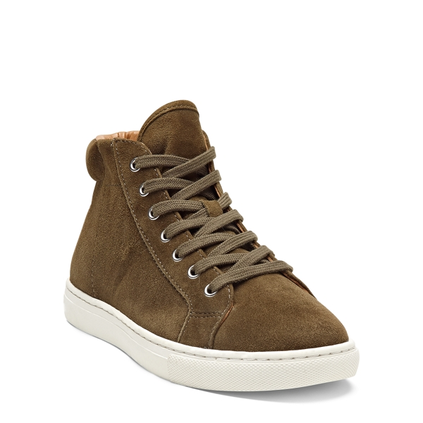 Ralph Lauren Dree Suede High-Top Sneaker Loden 10.5
