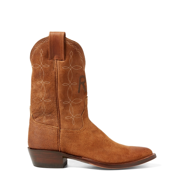 Ralph Lauren Plainview Suede Cowboy Boot Light Java 002 8
