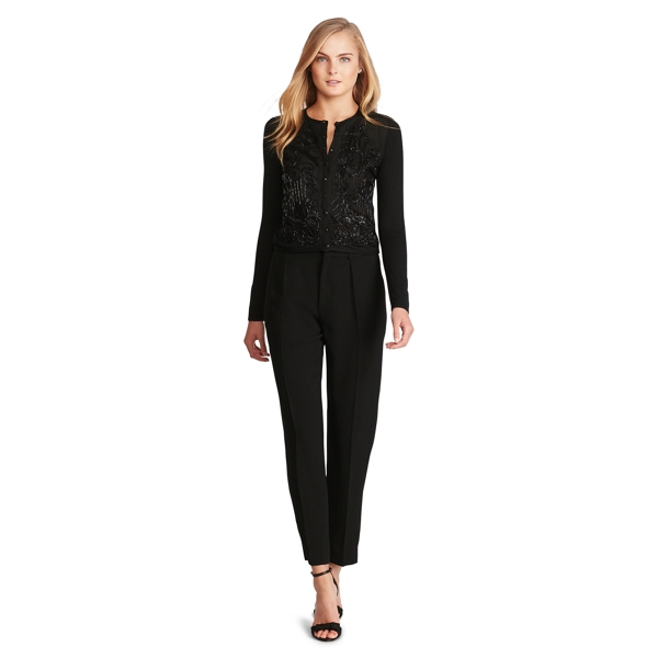 Ralph Lauren Beaded Silk-Cashmere Cardigan Black Xs