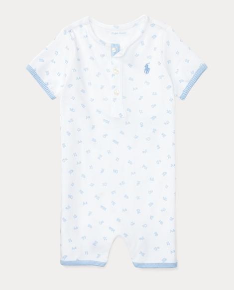 Alphabet-Print Cotton Shortall
