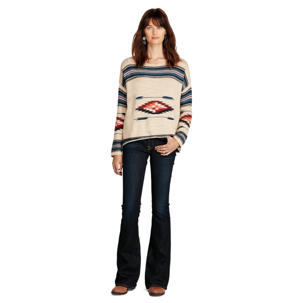 Ralph Lauren Southwestern Cotton Sweater Cream Multi Xs
