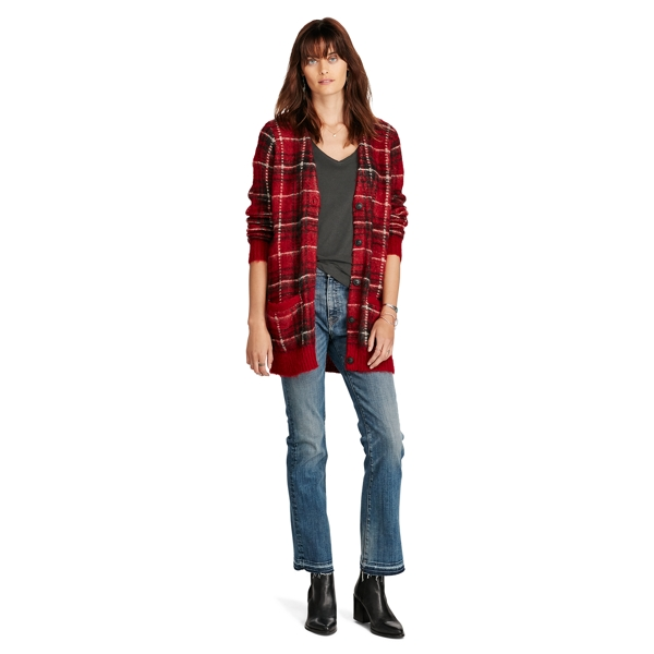 Ralph Lauren Plaid Boyfriend Cardigan Red Multi Xs/S