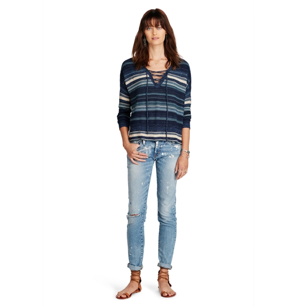Ralph Lauren Lace-Up Cotton Sweater Blue Multi Xs