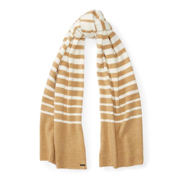 Ralph Lauren Striped Blanket Scarf Cream/Camel One Size