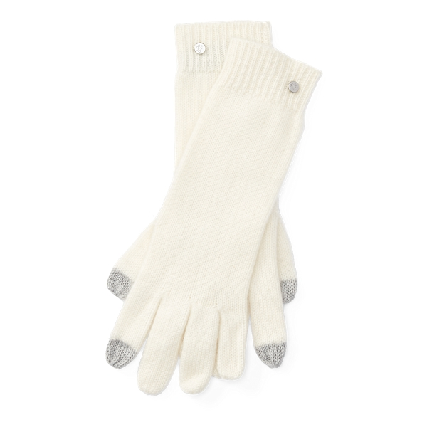 Ralph Lauren Cashmere Touch Screen Gloves Cream One Size